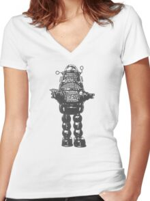 Forbidden Planet, Robot, Space, Science Fiction, Robby The Robot Women's Fitted V-Neck T-Shirt