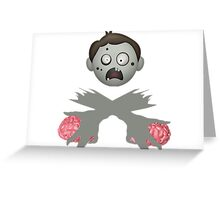 Zombie Head Crossed Arms & Brains Greeting Card
