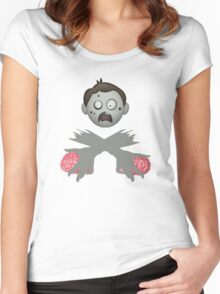 Zombie Head Crossed Arms & Brains Women's Fitted Scoop T-Shirt