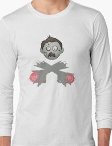 Zombie Head Crossed Arms & Brains Long Sleeve T-Shirt