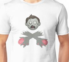Zombie Head Crossed Arms & Brains Unisex T-Shirt