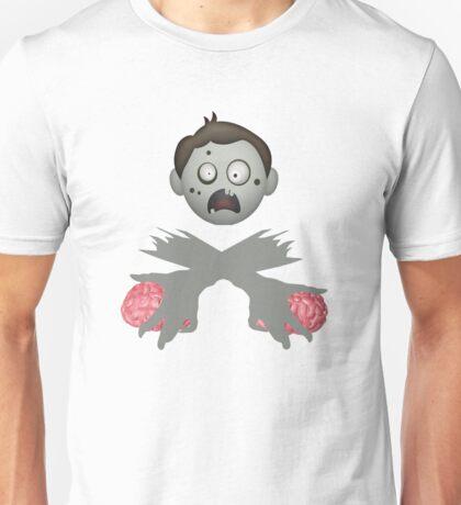 Zombie Head Crossed Arms & Brains Unisex T-Shirt