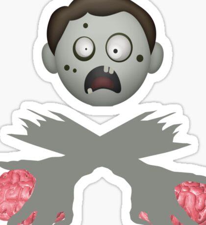 Zombie Head Crossed Arms & Brains Sticker