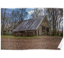 Old Barn & Tractor Poster