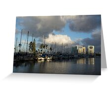 Dramatic Tropical Storm Light Over Ala Wai Harbor, Honolulu, Hawaii  Greeting Card