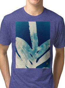 Green Fern at Midnight Bright, Navy Blue Tri-blend T-Shirt