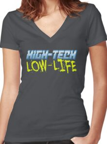 High Tech Low Life v2.0 Women's Fitted V-Neck T-Shirt