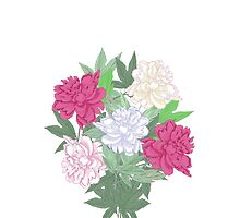 Bouquet with two pink and white peonies by Natalia Piacheva