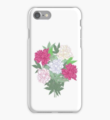 Bouquet with two pink and white peonies iPhone Case/Skin