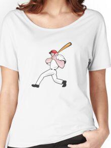 Baseball Player Batting Cartoon Women's Relaxed Fit T-Shirt