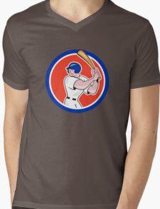Baseball Player Batting Circle Side Cartoon Mens V-Neck T-Shirt