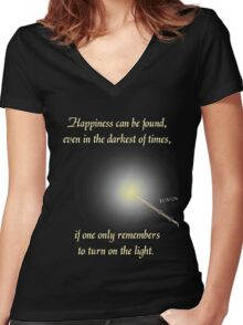 Harry Potter Happiness Quote Women's Fitted V-Neck T-Shirt