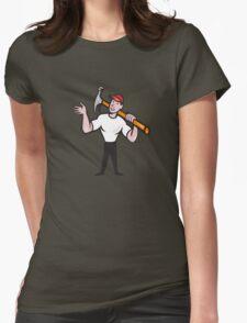 Carpenter Builder Hammer Cartoon Womens Fitted T-Shirt