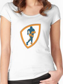 Rugby Player Running Shield Silhouette Women's Fitted Scoop T-Shirt