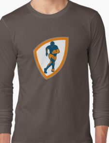 Rugby Player Running Shield Silhouette Long Sleeve T-Shirt
