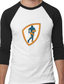 Rugby Player Running Shield Silhouette Men's Baseball ¾ T-Shirt