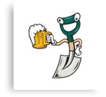 Shovel Holding Beer Mug Cartoon Canvas Print