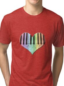 Colorful Piano Keyboard and Notes Tri-blend T-Shirt