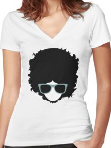 Hipster (wearing glasses) Women's Fitted V-Neck T-Shirt