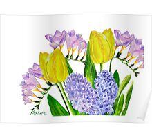 Bouquet with yellow tulips Poster