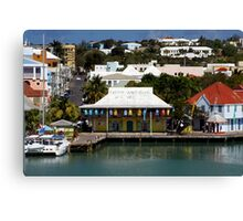 Colorful Caribbean seaport Canvas Print