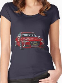 Audi RS6 Quattro Pen and Ink Sketch Women's Fitted Scoop T-Shirt