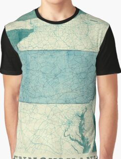 Pennsylvania Map Blue Vintage Graphic T-Shirt