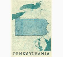 Pennsylvania Map Blue Vintage Unisex T-Shirt