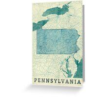 Pennsylvania Map Blue Vintage Greeting Card