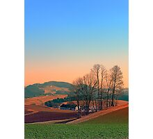Trees, panorama and sunset | landscape photography Photographic Print