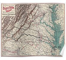 Civil War Maps 1075 Map showing the location of battle fields of Virginia Poster