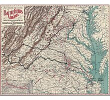 Civil War Maps 1075 Map showing the location of battle fields of Virginia Photographic Print