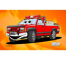 Pick Up Fire Truck Fire Background Cartoon Photographic Print