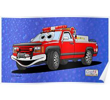 Pick Up Fire Truck Water Background Cartoon  Poster