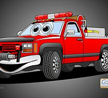 Pick Up Fire Truck Black Background Cartoon  by Graphxpro