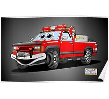 Pick Up Fire Truck Black Background Cartoon  Poster