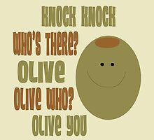 Olive You Knock Knock Joke Card by Amy Hadden
