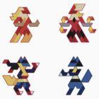 Trixel Blaziken & Lucario by etall