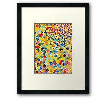 SWEPT AWAY 2 - Vibrant Colorful Rainbow Mango Yellow Waves Mermaid Splash Abstract Acrylic Painting Framed Print