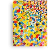 SWEPT AWAY 2 - Vibrant Colorful Rainbow Mango Yellow Waves Mermaid Splash Abstract Acrylic Painting Canvas Print