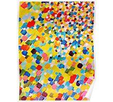 SWEPT AWAY 2 - Vibrant Colorful Rainbow Mango Yellow Waves Mermaid Splash Abstract Acrylic Painting Poster