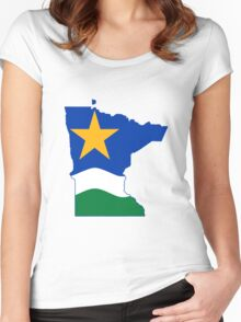 Minnesota flag and map T-Shirt and Stickers Women's Fitted Scoop T-Shirt