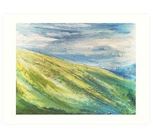 Lush Green Hills Mountain Painting Art Print