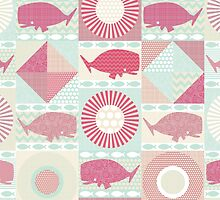 geo whales pink (card) by Sharon Turner