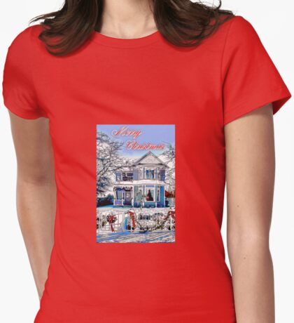 Merry Christmas In The Snow Womens Fitted T-Shirt