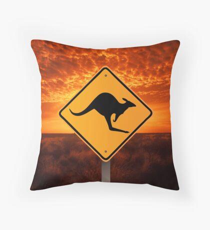Be Careful Kangaroos! Throw Pillow