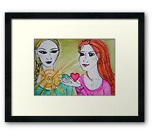 Yoga Sisters Framed Print