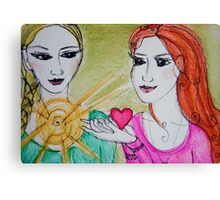 Yoga Sisters Canvas Print