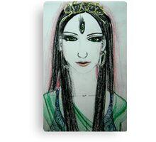 Green Yoga Devi Canvas Print