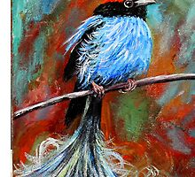 """Blue Manakin Bird of Paradise"" by ThisArt2BeYours"